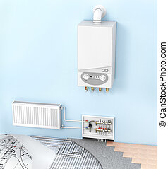 The concept of heating with radiators and a boiler ....