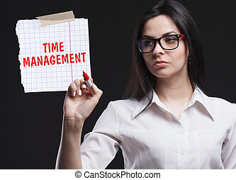 The concept of marketing, technology, the Internet and the network. A young businessman shows what is important for business: Time management