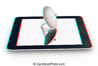 The concept of mobile high-speed Internet. 3D illustration. Anaglyph. View with red/cyan glasses to see in 3D.