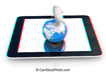 The concept of mobile high-speed Internet and planet earth. 3D illustration. Anaglyph. View with red/cyan glasses to see in 3D.