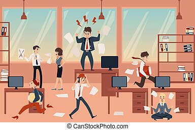 The concept of office chaos in business with the boss, businessmen and employees before deadline.