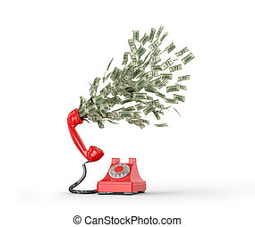 The concept of paid telephone calls. Phone number from which fly dollar bills. 3D illustration