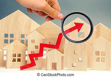 The concept of real estate market growth. The increase in ...
