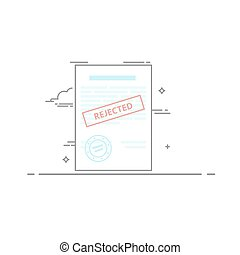 The concept of rejection of the document made in a linear style dark outline. Red stamp. Vector illustration isolated on white background.