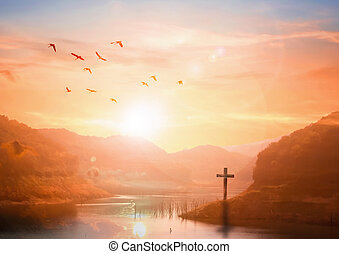 The concept of salvation:The Cross symbol of christian and Jesus Christ