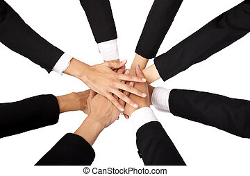 The concept of teamwork and Cooperation. Teammate's Hands on...