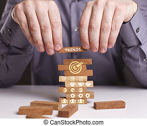 The concept of technology, the Internet and the network. Businessman shows a working model of business: Trends