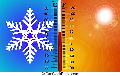 The concept of temperature in summer and winter