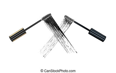 The concept of the duel of quality mascara. Two stroke brushes for mascara on isolated white background