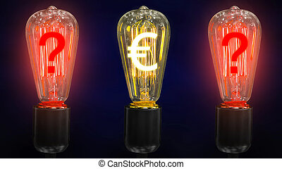 The concept of the fall of the euro exchange rate. Money making idea. Light bulb with Euro symbol.