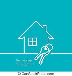 The concept of the house turnkey. Icon home and keychains. ...