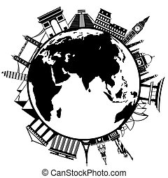 The concept of traveling around the world. Famous...
