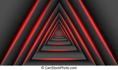 The concept of triangular shadow technology overlaps with a red light. 3D vector illustration