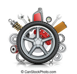 The concept of truck wheels with details on a white ...