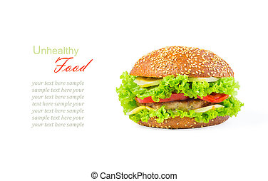 The concept of unhealthy diet, harmful food, overweight, weight