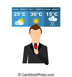 The concept of weather forecast on television. Vector ...
