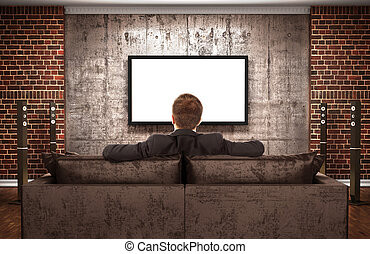 The concept of zombification. A man is watching TV in a dark room.