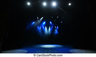 The concert on a stage background with blue lights