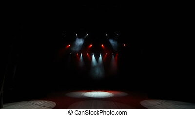 The concert on a stage background with magenta lights