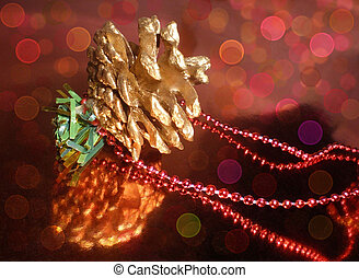 The cone and beads on a brilliant background - The garland ...