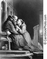The confession on engraving from 1870. Engraved by T.W.Knight after a painting by D.Wilkie.