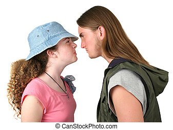 The Confrontation - A teenaged boy and girl having an angry...