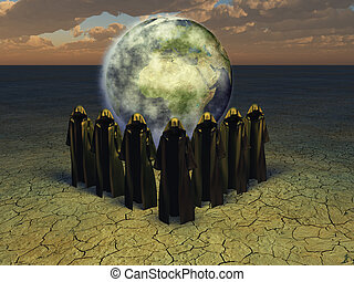 Hooded caped figures and the earth