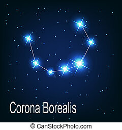 "The constellation ""Corona Borealis"" star in the night sky. ..."