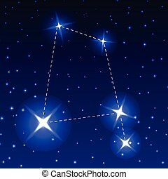 The Constellation Of The Raven in the night starry sky. Vector illustration of the concept of astronomy.