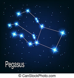 "The constellation ""Pegasus"" star in the night sky. Vector illustration"