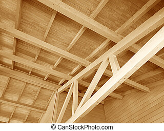 The construction of a wooden roof.