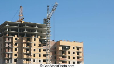 The construction of an apartment building