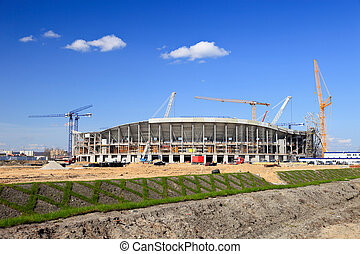 The construction of football stadium