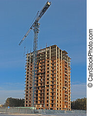 The construction of high-rise home in winter
