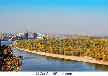 The construction of the bridge in Kiev