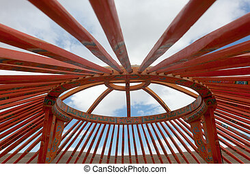 The construction of the yurt in the steppes of Mongolia