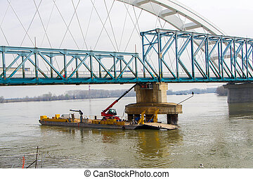 The construction site for the dismantling of the bridge