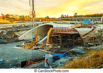 The construction site of the tunnel - Parallel highway...
