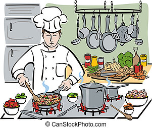 The Consummate Chef - Vector illustration of a professional...