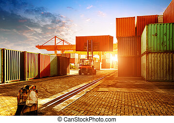 The container terminal at dusk