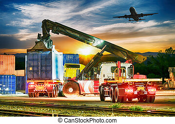 The container truck loading in shipping port and freight cargo plane flying for logistic import-export business,Transportation concept,Logistics concept.