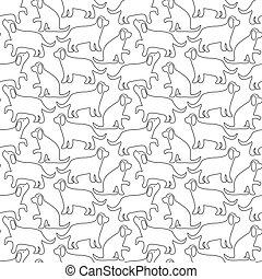 The contour image of a dog. Seamless vector pattern