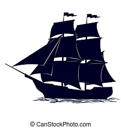 The contour of the ancient sailing - Old sailing ship. ...