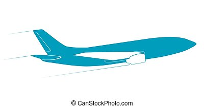 The contour of the modern jet aircraft. Side view. In flight.