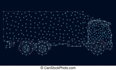 The contour of the truck from blue lines with luminous lights on a dark background. Side view. Vector illustration