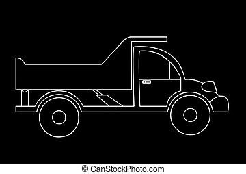 The contoured silhouette of a truck on a black background