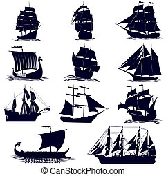 The contours of the sailing ships - Old sailing ships. ...