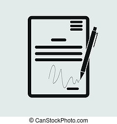 The contract icon. Agreement and signature, pact, accord, ...