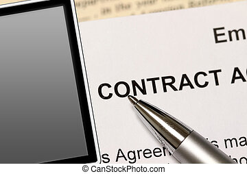 "The Contract - A pen points to the words, "" contract""...."