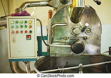 The control box of coffee roaster machine and roaster is working.